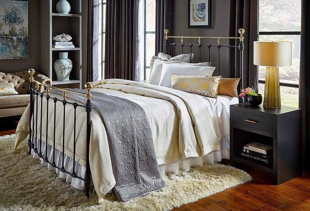 Americana Iron Bed, Midnight with Polished Brass Accents